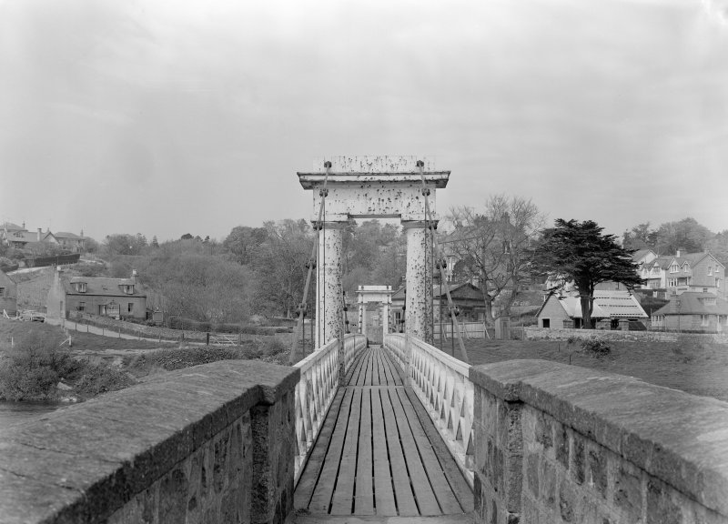 View of suspension bridge, Cults, Aberdeen, showing approach from S and suspension columns.