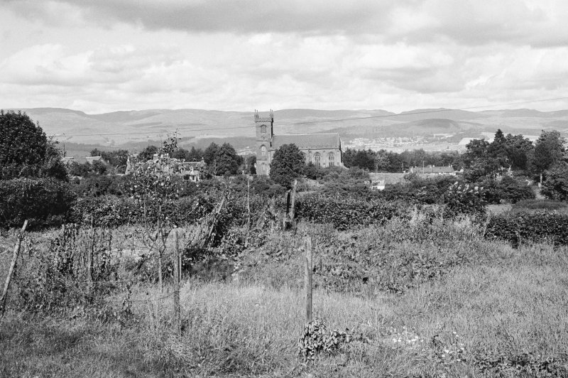 Distant view of New Parish Church, Muthill, from south.