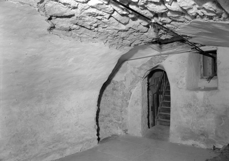 Interior view of Corsindae House showing vaulted cellar.