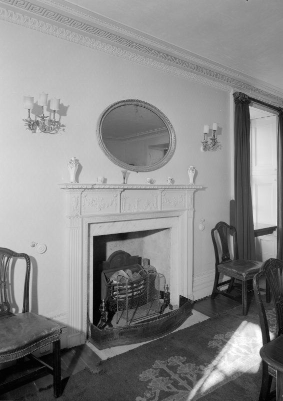 Interior view of Corsindae House showing detail of fireplace in dining room.