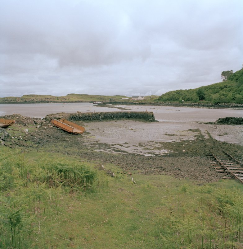 Eigg, Galmisdale Bay, Clanranald Harbour. View of harbour and fishtraps from N.