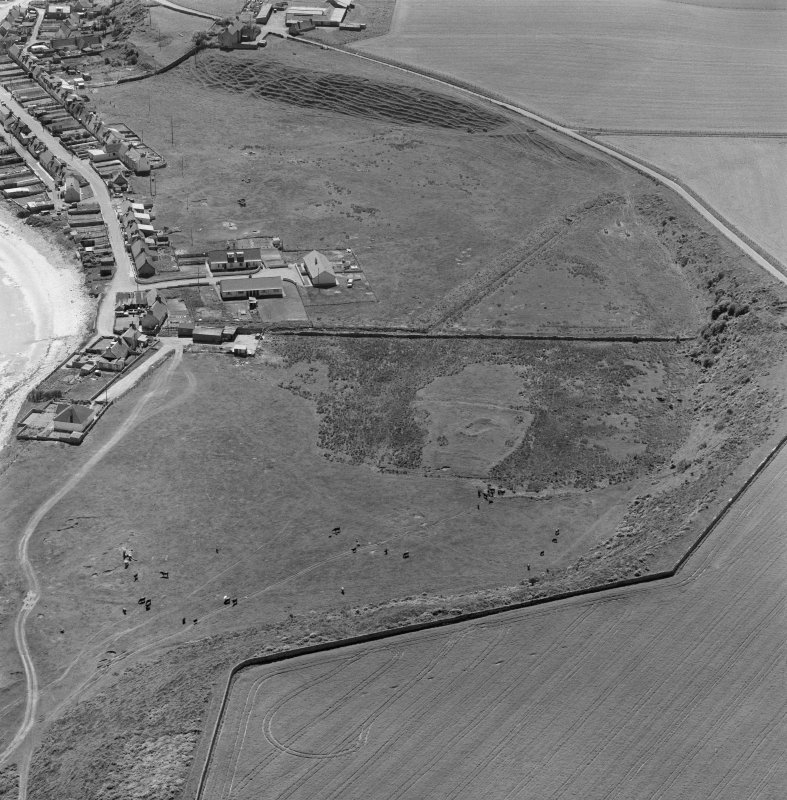 Oblique aerial view showing village of Hilton of Cadboll and site of 'Our Lady's Chapel'.