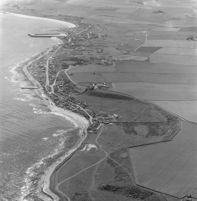 Oblique aerial view showing Hilton of Cadboll and Balintore villages and site of 'Our Lady's Chapel'.