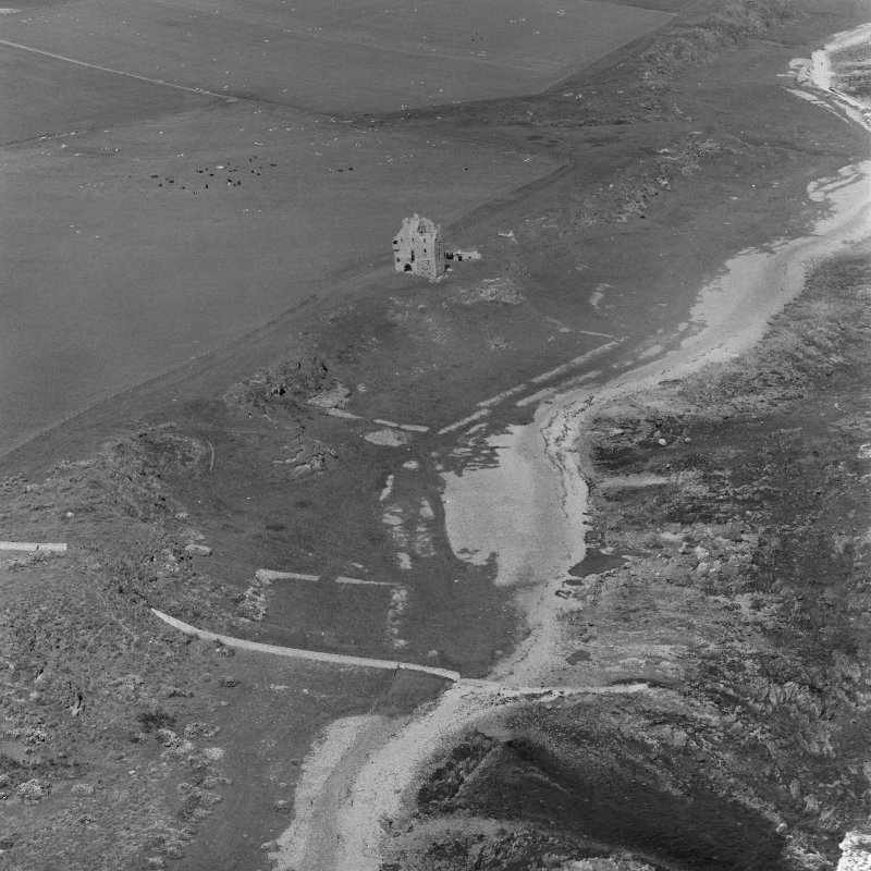 Oblique aerial view of Ballone Castle.