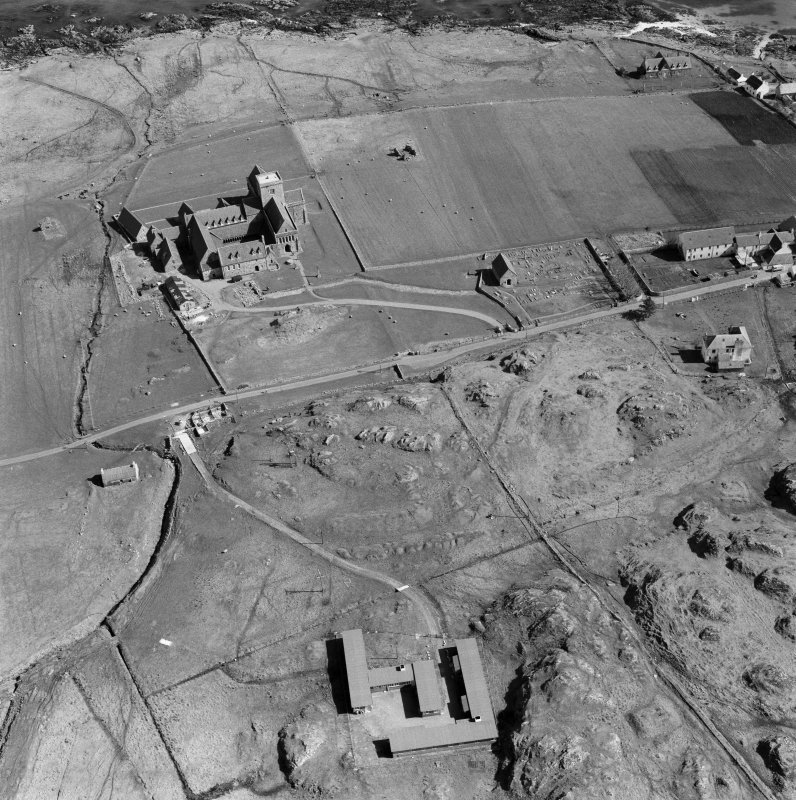Oblique aerial view of Iona Abbey from W.