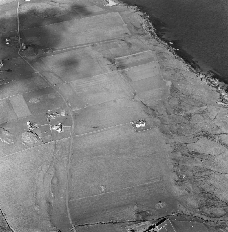 Oblique aerial view of Cladh an Diseart, Iona, from SW.