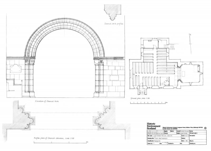 Legerwood Parish Church: Ground plan of Church and details of the Chancel Arch
