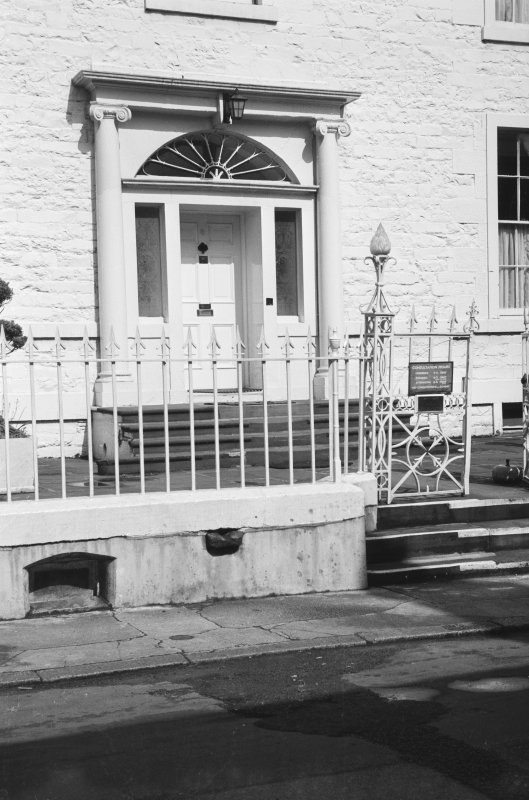 Detail of SE elevation showing main entrance, iron railings and gates, Blair House, 8 High Street, Kirkcudbright.
