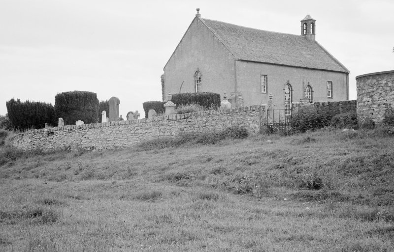 General view of Kiltearn Parish Church showing medieval buttresses.