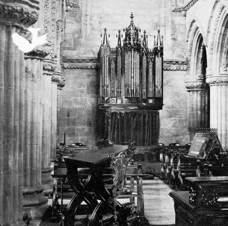 Roslin, Roslin Chapel, interior. Copy of historic photograph showing view of South aisle after insertion of a new organ.