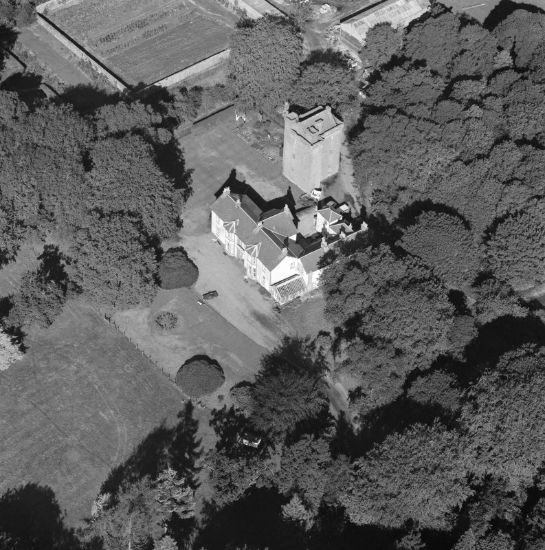 Oblique aerial view centred on Affleck Castle.