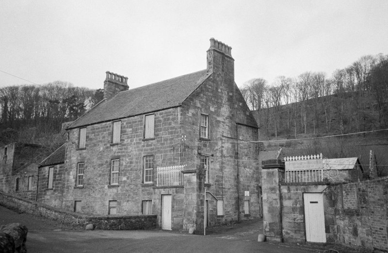 Grange Distillery: Looking N at main gate and office building, on the S side of the works
