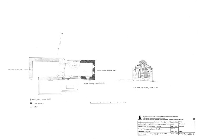 Keith Marischal Church: Ground plan and elevation