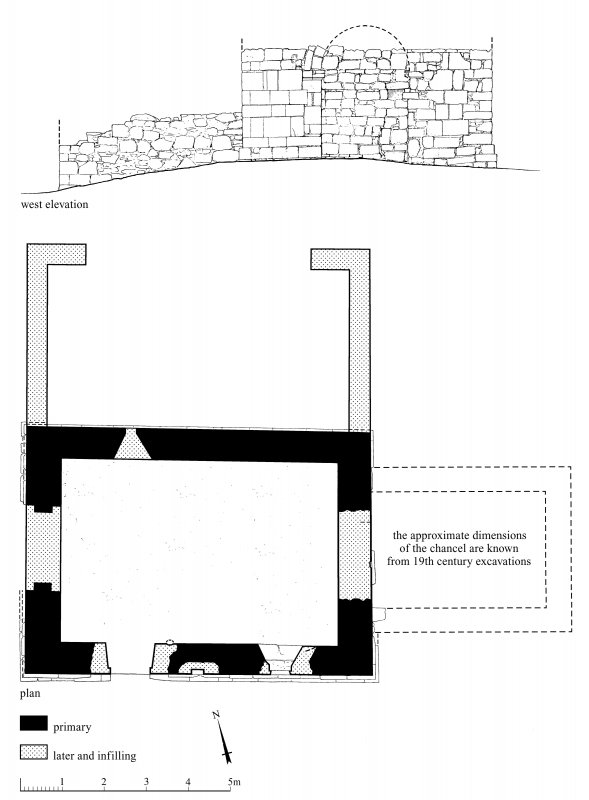 St Serf's Priory Church: scan of ink drawing showing Plan and West elevation.