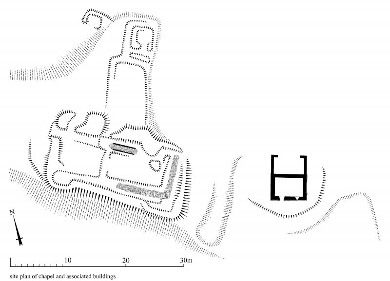 St Serf's Priory Church: scan of ink drawing showing Plan of  priory chapel and associated buildings