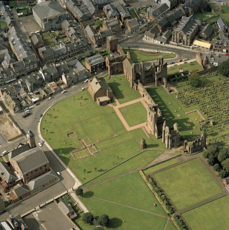 Oblique aerial view of Arbroath Abbey.