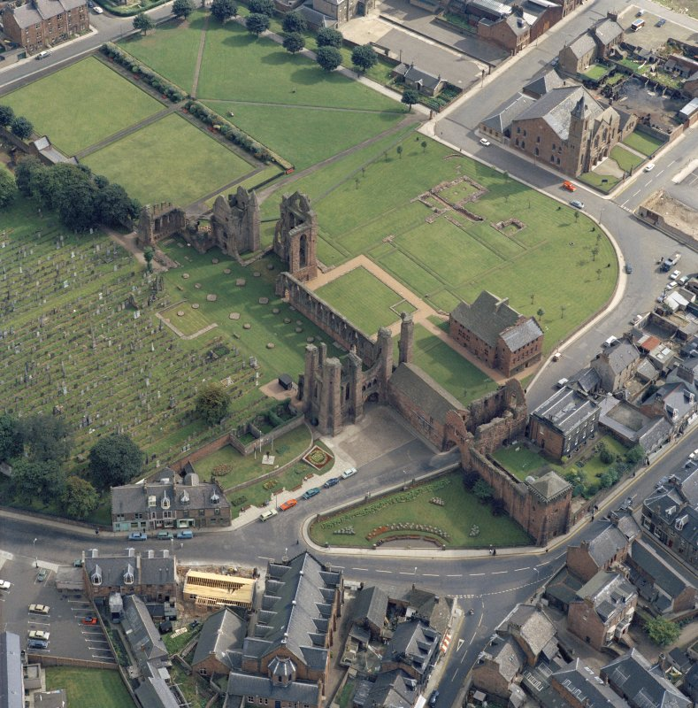 Oblique aerial view of Arbroath Abbey