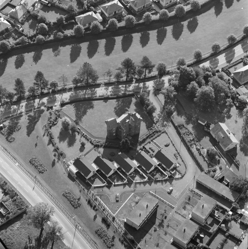 Oblique aerial view of Claypotts Castle, Dundee.
