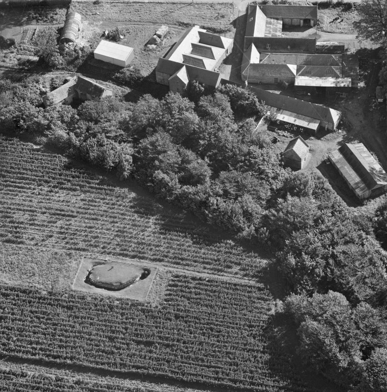 Oblique aerial view centred on the souterrain at Tealing.