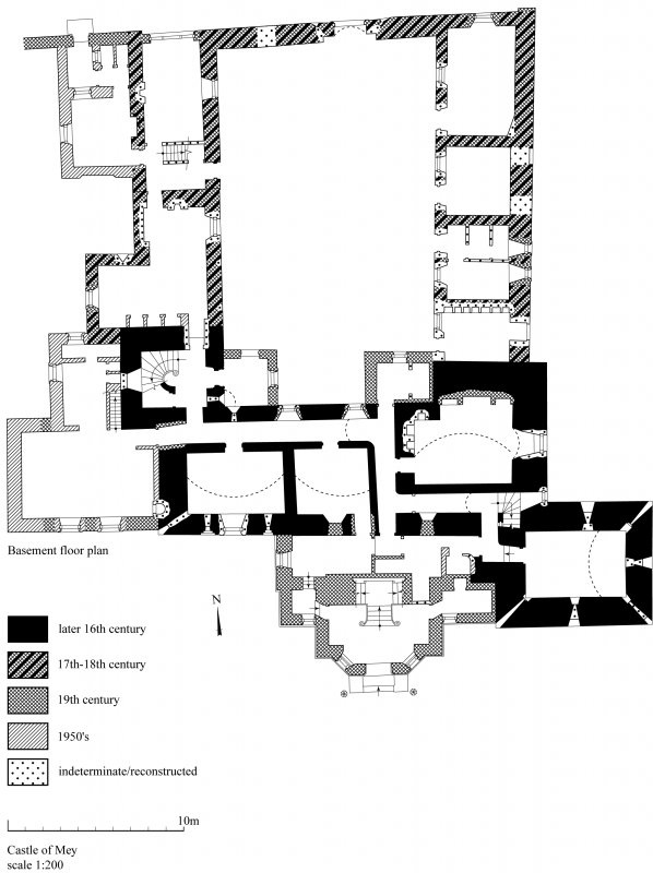 Castle of Mey: copy of GV006274 showing phased basement floor plan