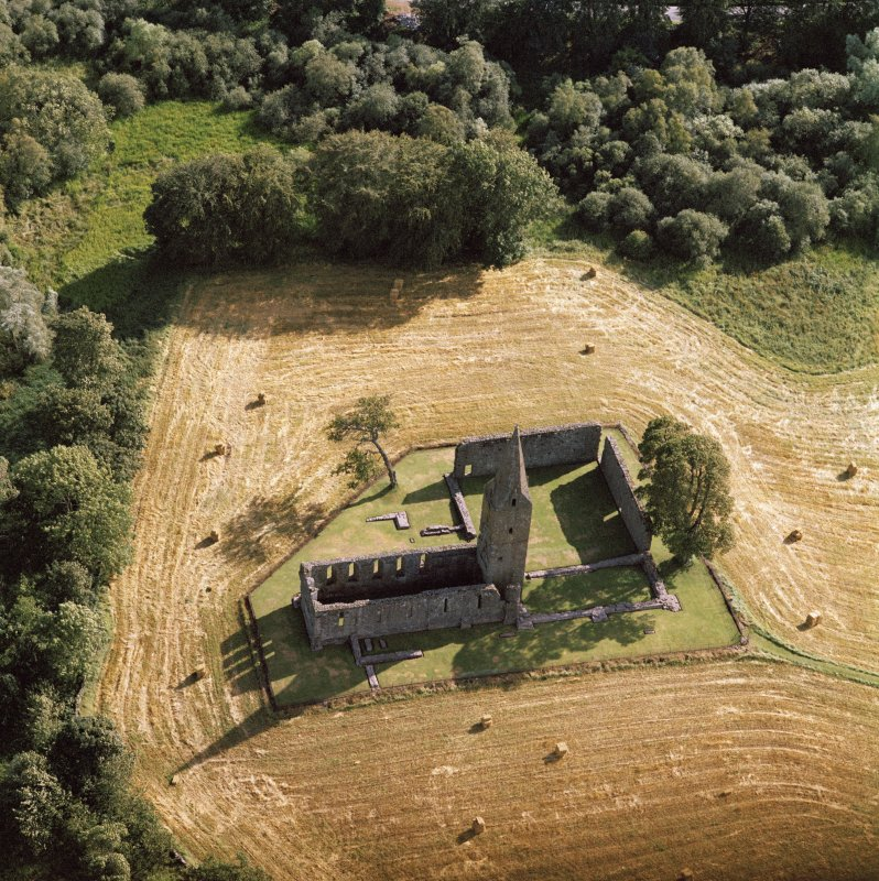 Oblique aerial view of Restenneth Priory.
