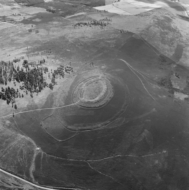 Oblique aerial view centred on the remains of the fort at White Caterthun.