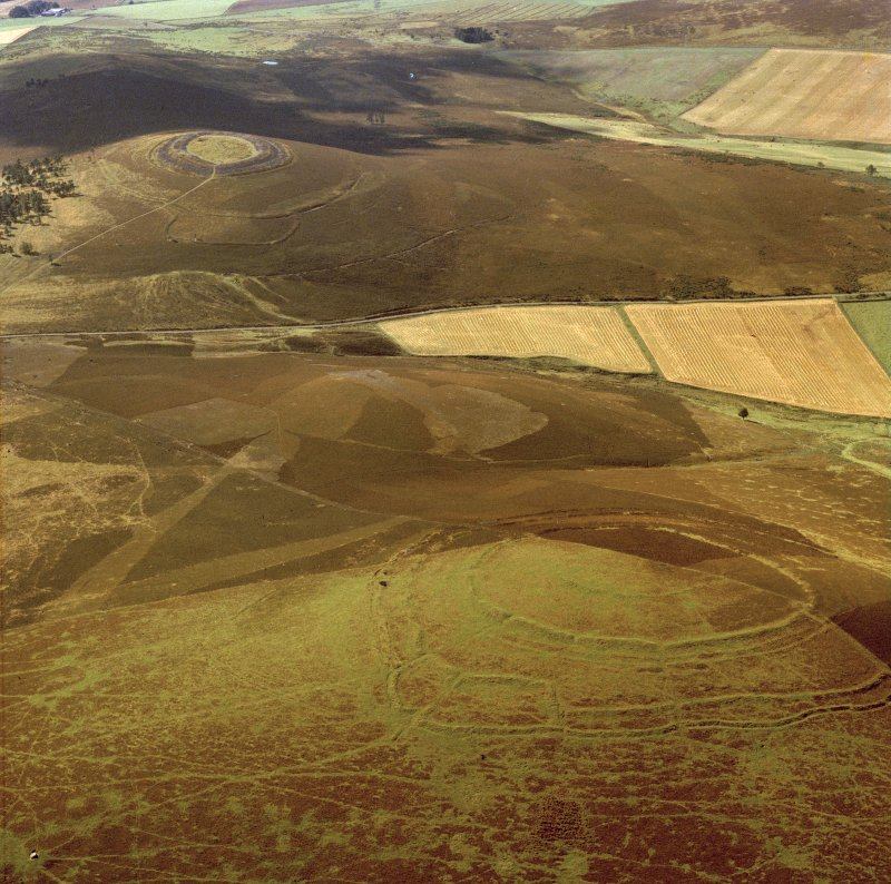 Oblique aerial view centred on the remains of the forts at Brown Caterthun and White Caterthun.