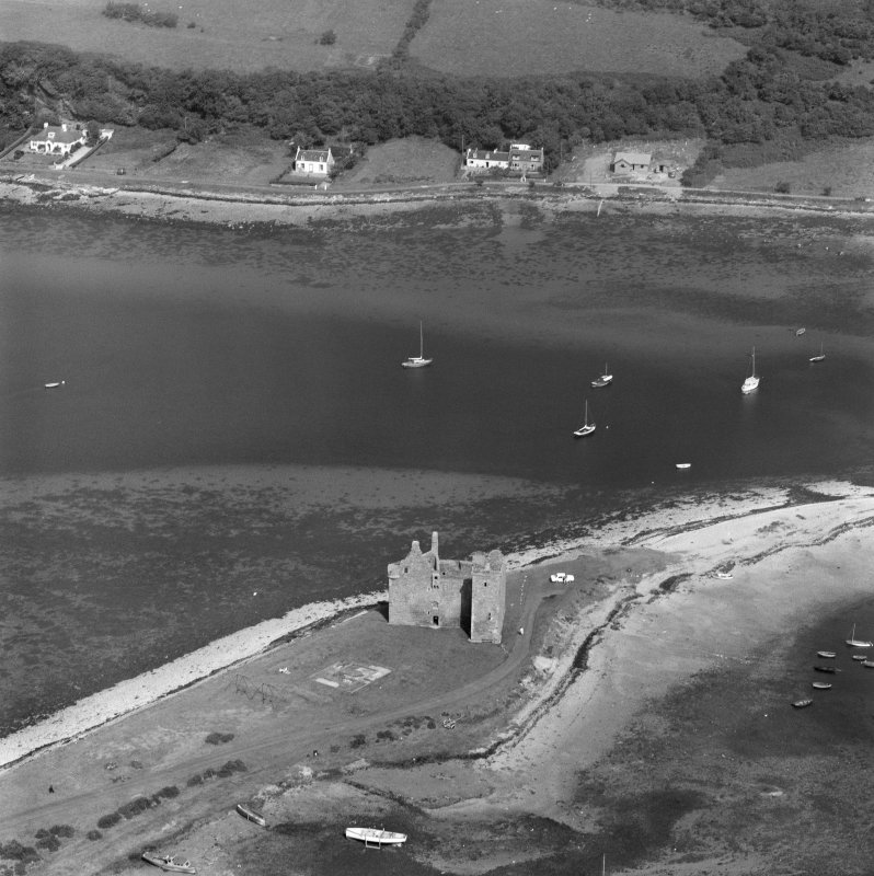 Oblique aerial view centred on Lochranza Castle, Arran.