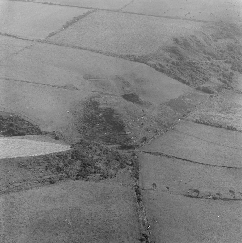 Oblique aerial view of Torr A' Chaisteil dun, Arran.