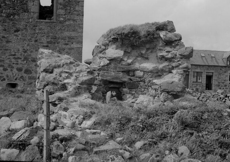 View of remains of tower with dovecot originally in roof, Knockhall Castle.