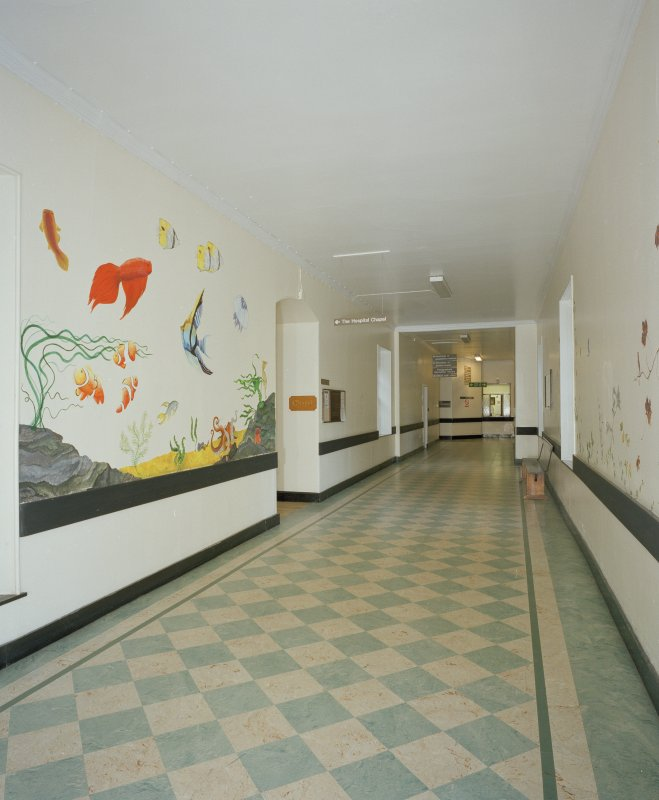 Interior. View along corridor, with signage for Hospital Chapel.