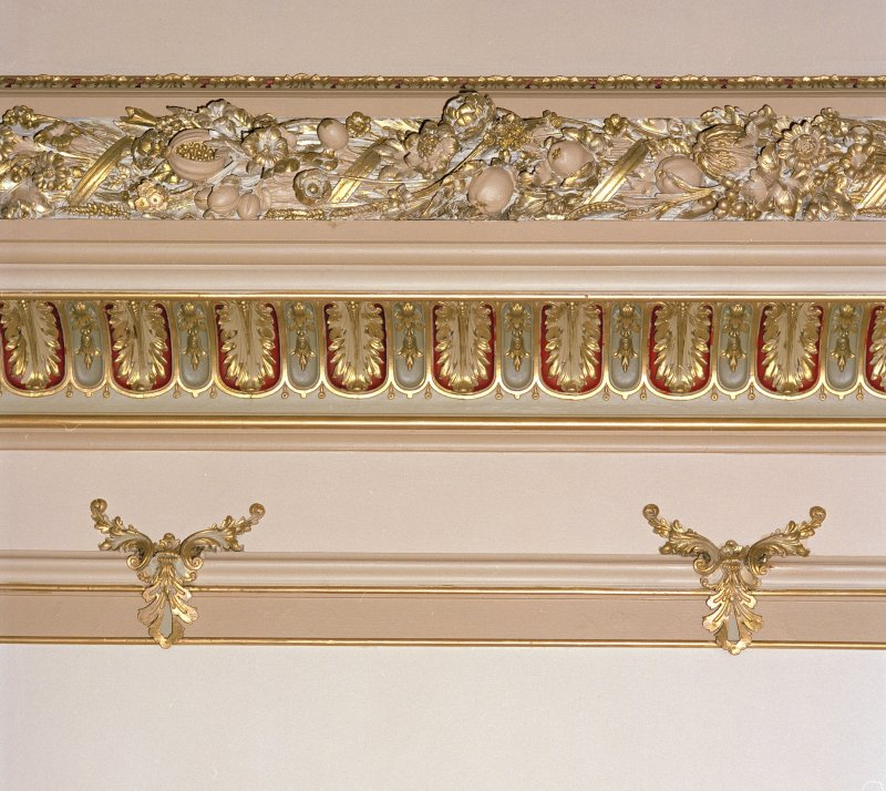 Sample of relief and gilded moulding on chapel ceiling.