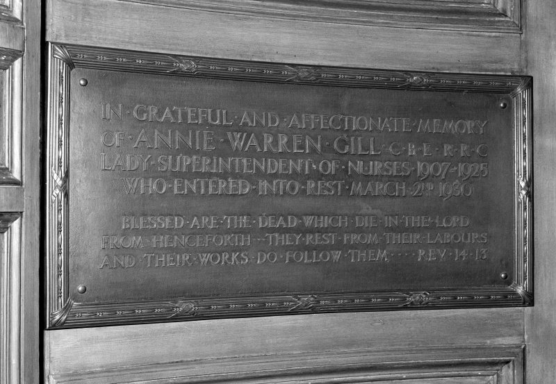 Detail of memorial plaque to Annie Warren Gill, Lady Superintendent of Nurses.