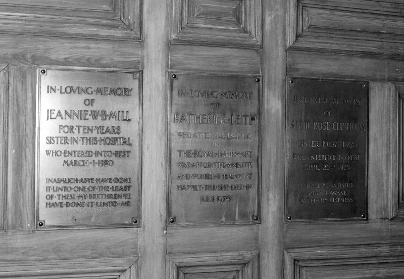 Detail of three remembrance plaques to Nursing Sisters, Jeanie W.B. Mill, Katherine Lieth &  Annie Rose Chisolm.