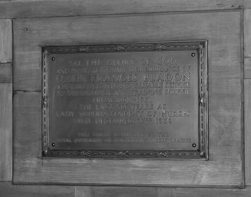 Detail of remembrance plaque to Lady Superintendent of Nurses,  Ellen Francis Bladon.