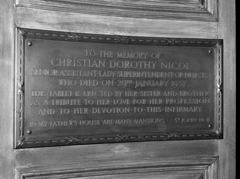 Detail of rememberance plaque to Lady Superintendent of Nurses, Christian Dorothy Nicol.