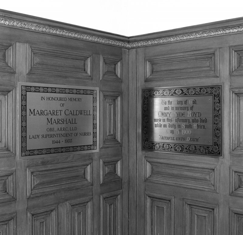 Detail of rememberance plaques to Lady Superintendent of Nurses Margaret Caldwell Marshall OBE & Mary Syme Boyd.