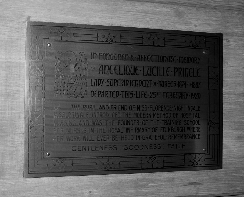 Detail of memorial plaque to Lady Superintendent of Nurses, Angelique Lucille Pringle.