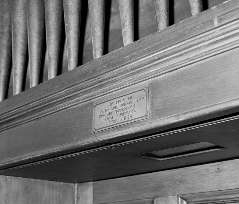 Detail of donor plaque on Chapel organ.