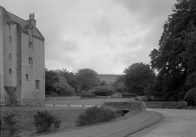 View of Lickleyhead Castle and entrance road from NW.