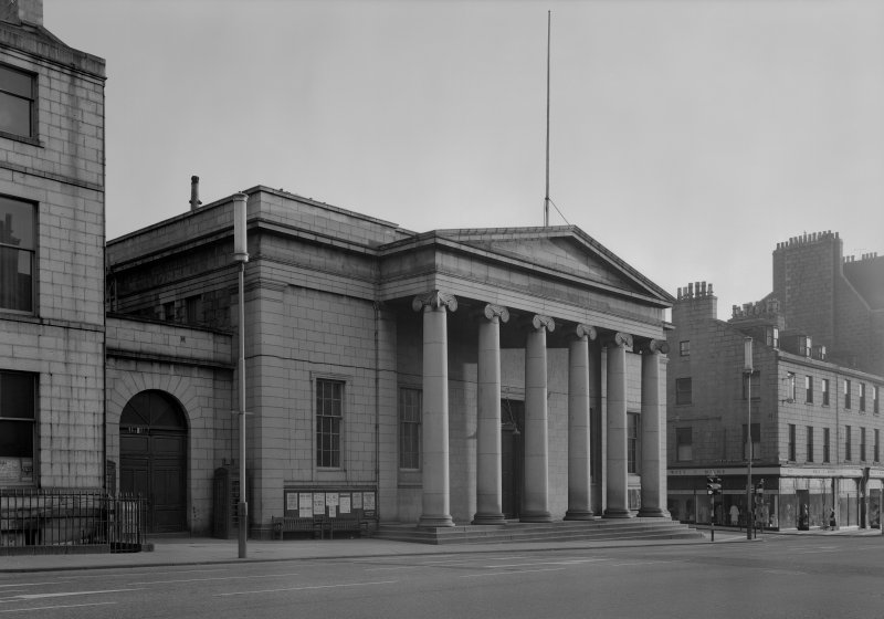 View of the Music Hall, 174-194 Union Street, Aberdeen, showing portico with Ionic columns.