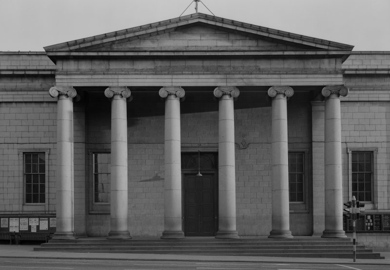 View of the Music Hall, 174-194 Union Street, Aberdeen, showing detail of portico with Ionic columns.