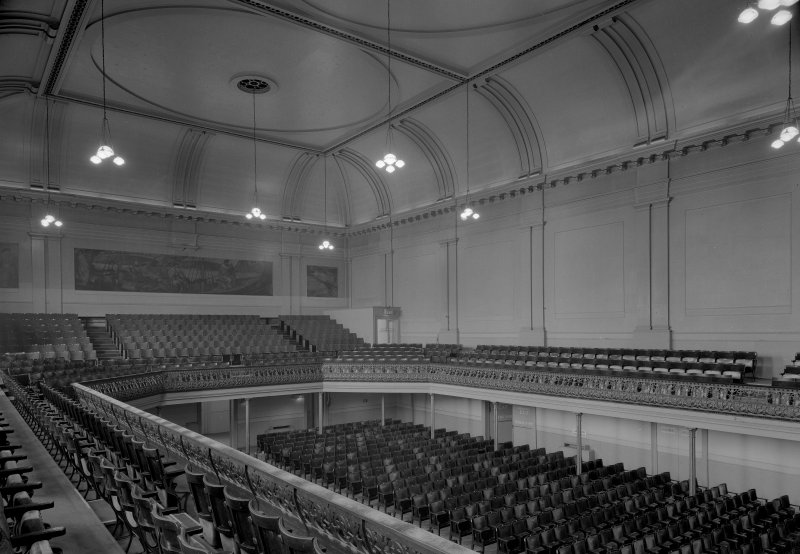 Interior view of the Music Hall, 174-194 Union Street, Aberdeen, showing the concert hall with mural paintings.