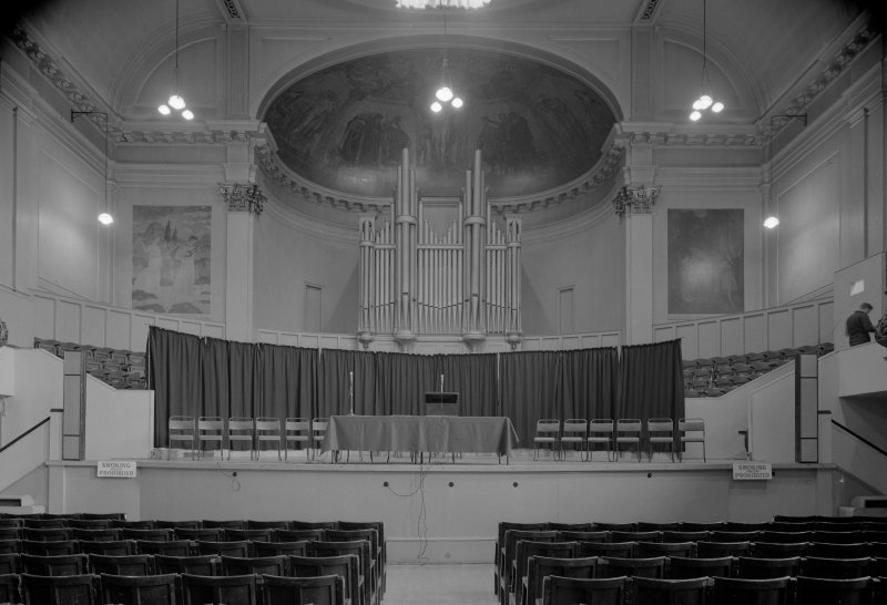 Interior view of the Music Hall, 174-194 Union Street, Aberdeen, showing showing the concert hall with mural paintings and organ.
