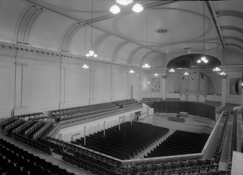Interior view of the Music Hall, 174-194 Union Street, Aberdeen, showing the auditorium from balcony.