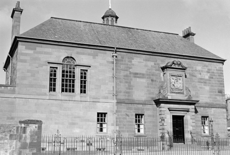 View of the front facade of Archers' Hall, Buccleuch Street, Edinburgh seen from the east.