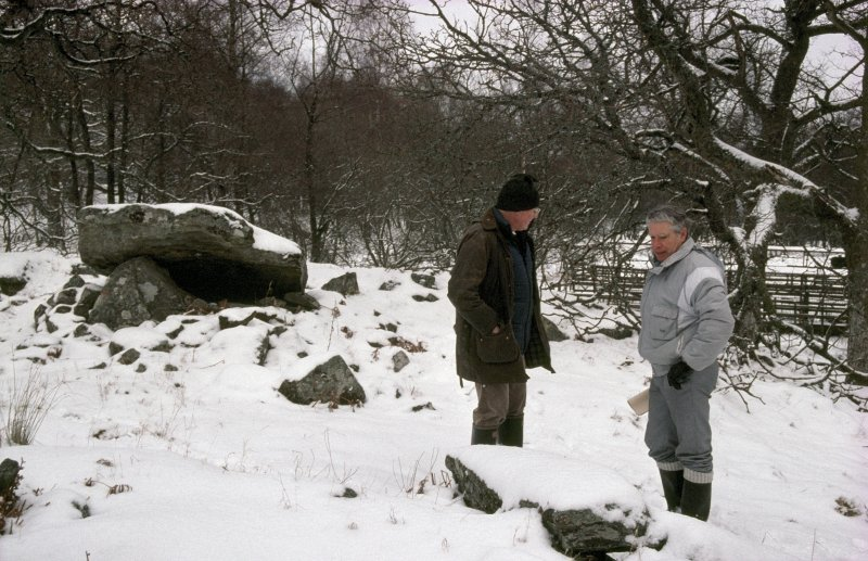 View of Jim Davidson (right) and Jack B Stevenson, RCAHMS, at Edinchip chambered cairn