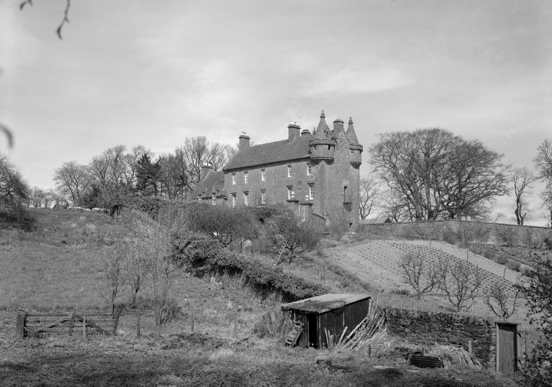 General view of Gardyne Castle and part of the garden from S.