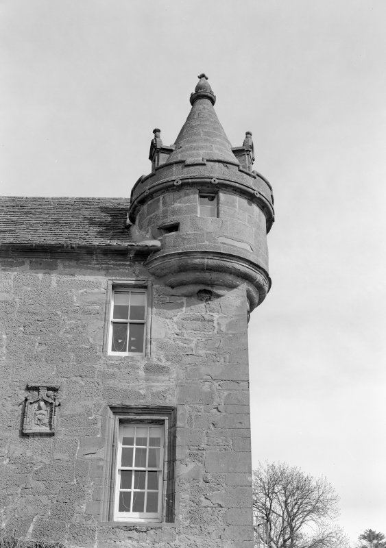 Detail of SE turret, Gardyne Castle.