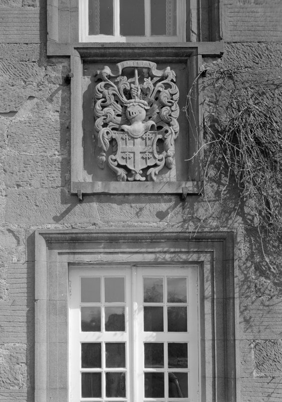 Detail of heraldic panel, Gardyne Castle  from S.